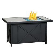 "Bali Outdoors Propane Fire Pit Table 42"" Rectangular Gas 50,000Btu Blue Glass Ne"