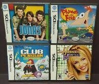 Disney Hannah Jonas Phineas Ferb Club Penguin Game Lot Nintendo DS Lite 3DS 2DS