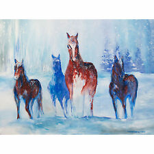 """'Winter Horses' art print on 80lb paper 10x13"""" - blue and brown majestic horses"""