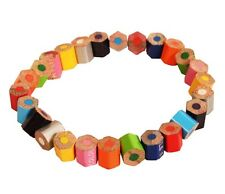 Recycled Pencil Crayon Elasticated Eco Bracelet Multi-Coloured Handmade in India
