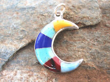 Made in Mexico Fair Trade p2004 Crescent Moon Pendant Hand Crafted Stone Inlay
