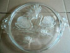 Glas Tortenplatte, Kuchenplatte, Servierplatten mit Motiv Schwäne Ø 32 cm