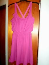Junior's Designer Dress Kohls S Small Chiffon Ruffle X back Magenta Pink Formal!