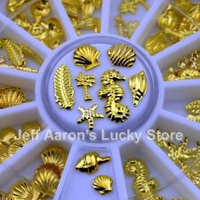 3D Gold Metal Nail Art Decoration Accessories Nail Supplies Wheel Shell Conch DS