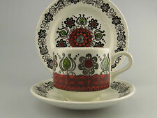 Vintage Kathie Winkle Broadhurst ROMANY Trio cup saucer plate 1970s