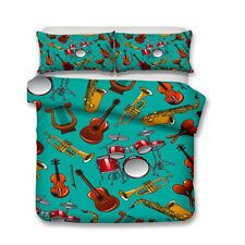 Musical Notes Instrument Guitar Drum Kit Saxophone Bedding Duvet Quilt Cover Set