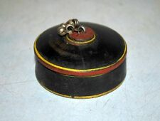 Old Antique Wooden Crafted Black Laquer Painted Kum Kum Powder Box