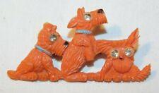 Beautiful Plastic & Rhinestone Scotty Dog Shaped Pin Brooch