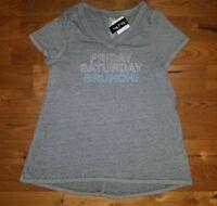 NEW Women's STATE OF MINE Grey Friday Saturday Brunch V-Neck Shirt Size Medium M