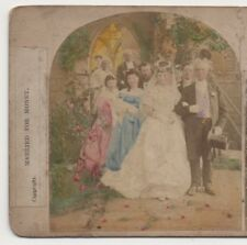 """ MARRIED FOR MONEY ""  VINTAGE HAND COLOURED STEREOVIEW."
