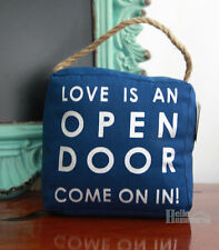 "Door Stop ""Love is an Open Door"" Canvas Doorstop - Jute Rope Handle - 1.5kg"