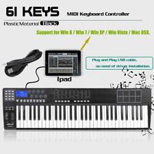 High Quality 61-Key USB MIDI Keyboard Piano Controller 8 Drum Pads+USB Cable US