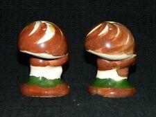 "Pair of 2.25"" Tall Brown & White Swirled Mushroom Vintage Salt & Pepper Shakers"