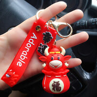 Car Cartoon Doll Keychain Ox Lovers Key Holder Keyring Bag Pendant Accessory Swe