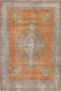Medallion Hand-knotted Semi-Antique Traditional Area Rug Wool Orange Carpet 9x12
