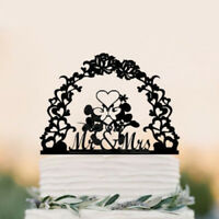 Black Acrylic Mickey and Minnie Wedding Cake Topper Engagement / Anniversary