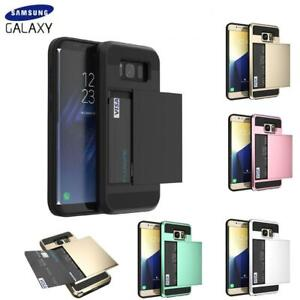 Case For Samsung Galaxy S8 S9 S10 S20+ Shockproof Card Holder Hard Wallet Cover