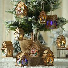 Home Wooden House Light Christmas Santa Elk Holiday Decorations Ornaments