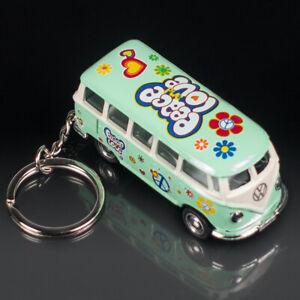 VW Bulli T1 Schlüsselanhänger | MINT GRÜN Peace & Love | Volkswagen Flower Power