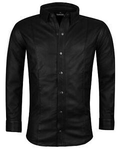 Lederhemd M schwarz Hemd LAMMLEDER Leder neu Langarm leather shirt black  M cuir