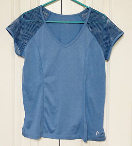 Head Athletic Shirt Compression Stretch Mesh Shoulder Marled Blue Women's Large
