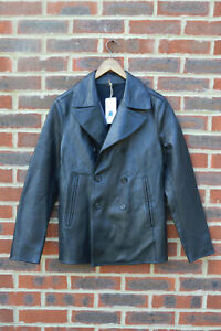 **AWESOME SAUCE** AllSaints Mens PIPER Leather Peacoat Small Blazer Pea Coat