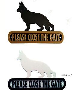 German Shepherd Please Close The Gate Silhouette Dog Plaque - House Garden Sign