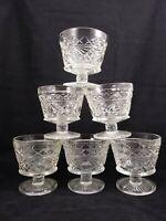 6 Vintage Pressed Clear Glass Stemmed Dessert Fruit Ice Cream Bowls