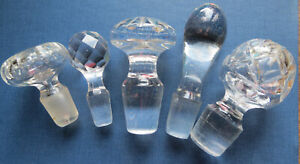 5 VINTAGE GLASS CRYSTAL BOTTLE DECANTER STOPPERS