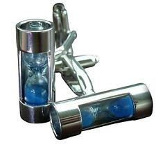 Steampunk WORKING hourglass pocket watch cufflinks cuff links wedding Gift BOX b