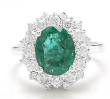4.50Ct Natural Emerald & Diamond 14K Solid White Gold Ring