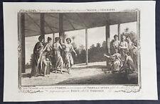 1782 Millar Original Antique Print of Queen Purea of Tahiti & Capt Samuel Wallis