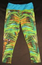 Pre-owned Girl's Sz 14 Limeapple Multicolored Giraffe Print Capri Leggings