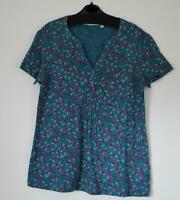 NEW EX SEASALT CORNWALL SIZE 8 10 12 CASSANDRA TEAL BLUE LEAFY PRINT JERSEY TOP