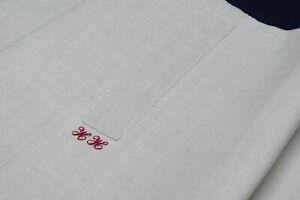 Grau weißer Kopfkissenbezug handgewebtes Leinen aus Hemd genäht 75x77