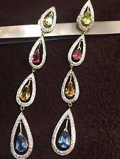 1.76 Cts Round Brilliant Cut Diamonds Dangle Earrings In Fine 18K Yellow Gold