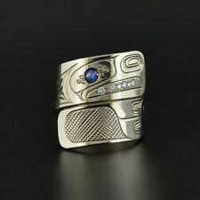 White Gold Eagle Wrap Ring with 4 Diamonds and Blue Tourmaline Size 5.5 Haida