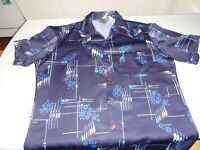 Vintage 1970's Triumph California Polyester Funky Disco Men's XL Shirt Blue
