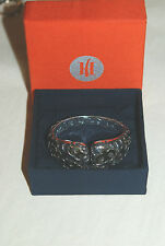 JOHN HARDY 3 $2495 STERLING SILVER/22K SCROLL DESIGN OPEN HINGE CUFF/BRACELET