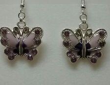 purple enamel and rhinestone butterfly earrings