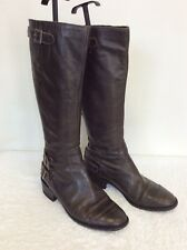 JIGSAW DARK BROWN BUCKLE TRIM LEATHER KNEE LENGTH BOOTS SIZE 5/38