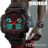 SKMEI Men's Sports Dual Time LED Date Waterproof Military Quartz Wrist Watches