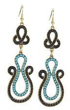 Earrings Gold Black Turquoise Long Boho Earrings by Ella Jonte New Arrival