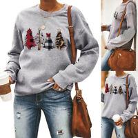 UK Womens Christmas Tree Tops Ladies Long Sleeve Xmas Sweatshirt Pullover Jumper