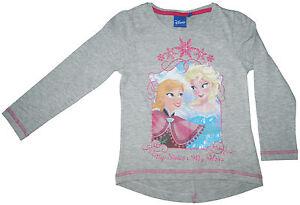 Shirt Langarmshirt die Eiskönigin T-Shirt Disney Elsa Anna Frozen Grau 102-128