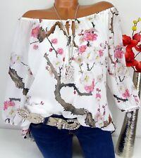 Bluse Carmen Italy Top Tunika Shirt Poncho Hippie doppellagig Kirschblüten 44 46