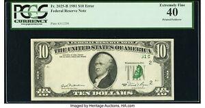 1981 $10 FRN  Printed Foldover Error PCGS 40