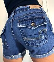 American Eagle Cut off Mid Rise Flap Pocket Cuffed Denim blue Jean Shorts size 2
