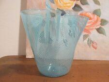Venetian Art Glass Hankerchief Dish Pin Stripe Blue