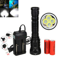 20000Lm 4x XML T6 LED Underwater 200m Scuba Diving Flashlight Torch 2x18650 Lamp